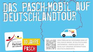Postkarte mit Grafik zum PASCH-Mobil
