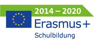 Schriftlogo Erasmus+ Schulbildung 2014 bis 2020 mit EU Flagge
