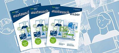 3 x Titelbild der Dezemberausgabe des Magazins. Zeichnungen mit Bildschirmen und Personen symbolisieren den digitalen Schulaustausch