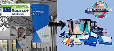 Collage: Erasmus+ Werbebanner werden zu nachhaltig produzierten Taschen
