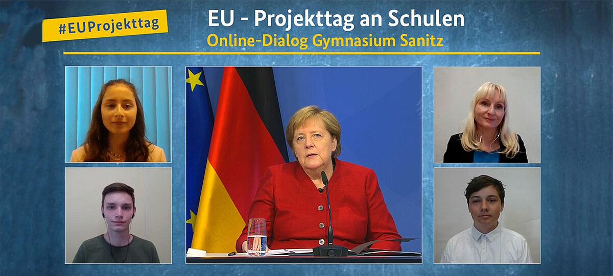 EUProjekttag: Kanzlerin Angela Merkel mit Schülern vom Gymnasium Sanitz in Videokonferenz