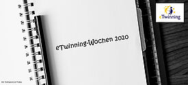 """Notzbuchseite mit Schriftzug """"eTwinning-Wochen 2020"""""""