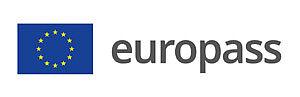 Schriftzug europass mit blauer EU-Flagge