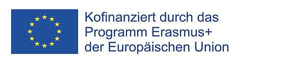"""EU-Flagge mit Text """"Kofinanziert durch das Programm Erasmus+ der Europäischen Union"""""""