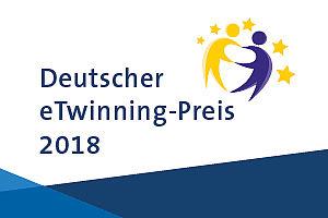 """Schriftzug """"Deutsche eTwinning-Preis 2018"""" mit eTwinning-Logo"""
