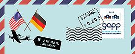 Brief mit deutscher und USA-Flagge, in der Briefmarke das GAPP-Logo