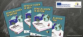 """Cover des eTwinning-Buches """"Klimawandel"""" vor Schiefertafel"""