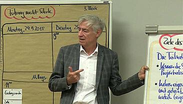 Trainer vor Flipchart und Moderationswand