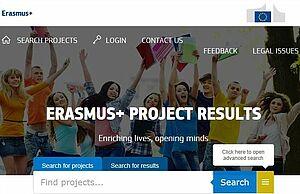 Screenshot der Startseite der Projektergebnisplattform