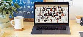 Lehrkräfte treffen sich online bei Videokonferenz zum Weiterbildungsprogramm des PAD