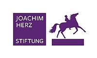 Logo der Joachim-Herz-Stiftung: Schriftzug mit Reiter auf Pferd