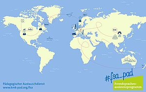 Weltkarte auf blauem Grund mit Markierungen für Einsatzorte