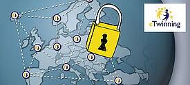 Grafik mit Vorhängeschloss vor Europakarte