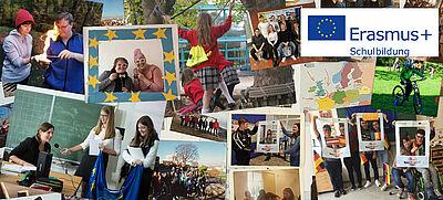 Collage von Fotos aus Erasmus+ Projekten