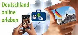 Collage mit Smartphone, Deutschlandflagge und Slogan Deutschland online erleben