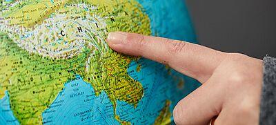 China auf dem Globus
