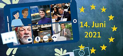 EU-Flagge und Tablet mit Politikern als Graphik, Symbolbild für EU-Projekttag an Schulen
