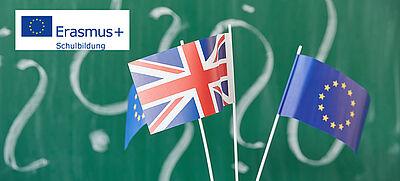 EU-Flagge und Flagge von Großbritannien mit Erasmus+ Logo