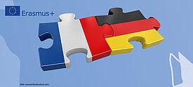 Zwei Puzzleteile mitz der deutschen und französischen Flagge