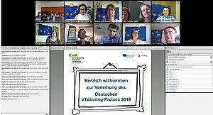 Screenshot Videokonferenz zum Deutschen eTwinning-Preis 2019