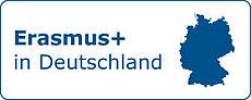 Aufschrift Erasmus+ Deutschland mit Umriss Deutschlandkarte