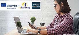 Frau mit Smartphone arbeitet am Laptop