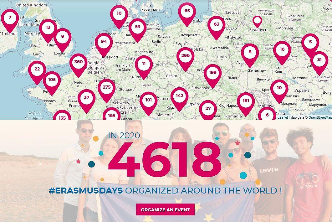 Ausschnitt Europakarte mit markierten Orten