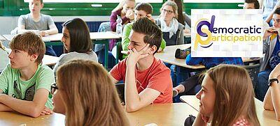 Schulklasse mit eTwinning-Logo zur Frühlingskampagne