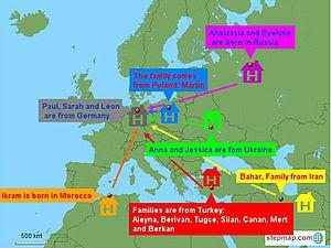 Europakarte mit Einträgen