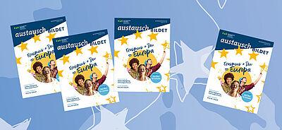Titelbilder des Magazins vor hellblauem Hintergrund