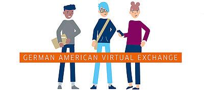 Drei gezeichneten Jugendliche mit Aufschrift German American Virtual Exchange