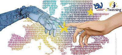 Wettbewerbsmotiv: eine Roboterhand trifft auf eine menschliche Hand vor Europakarte