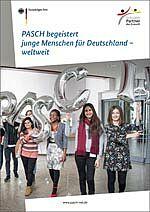 Titelbild der Broschüre mit vier jungen Frauen die Luftballons mit einer 10 zeigen