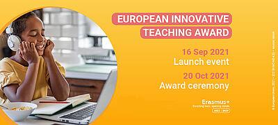 "Schülerin vor PC, daneben steht: ""European Innovative Teaching Award"""