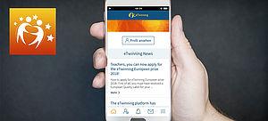 Smartphone mit eTwinning-App von einer Hand gehalten