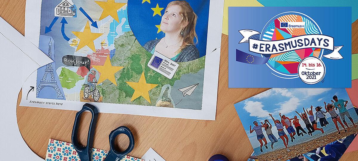 Collagen-Wettbewerb: Bastelpapier, Schere und Logo der #ErasmusDays
