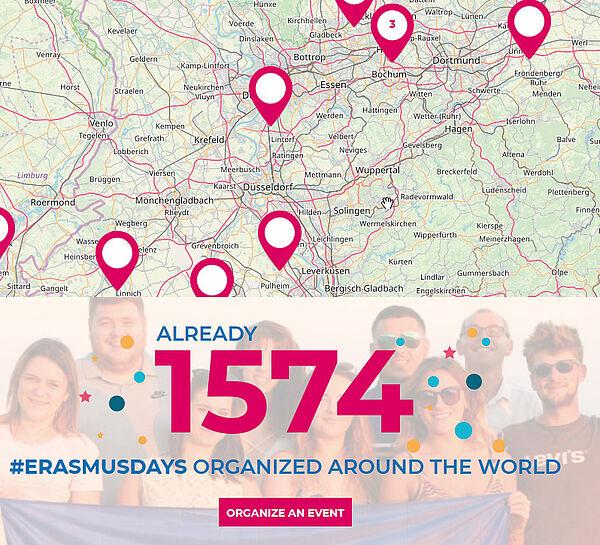 Ausschnitt Deutschlandkarte mit Markierungen und der Zahl 1574 für bisher registrierte Projekte