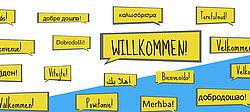 Grafikmit Willkommen in verschiedenen Sprachen