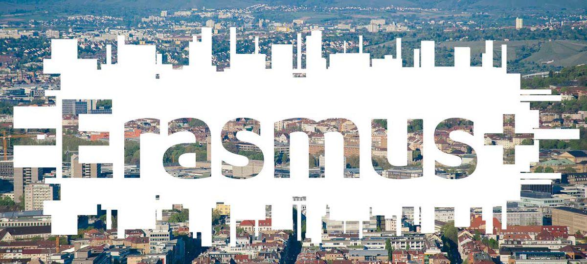 Luftbild Stuttgart mit Logo Erasmus+