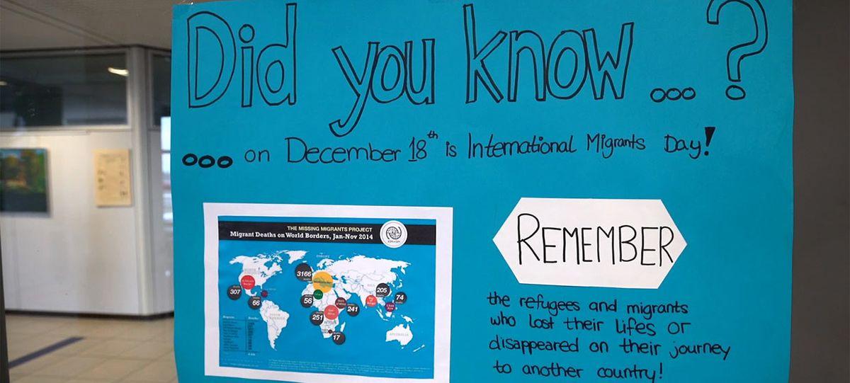 Informationsplakat zur Situation von Flüchtlingen
