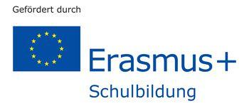 Logo der Europäischen Union mit Schriftzug Gefördert durch und Erasmus+ Schulbildung