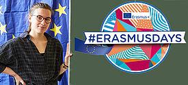 Junge Frau neben Tafel mit Erasmusdays-Logo