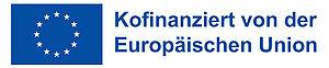 """EU-Flagge mit Text """"Kofinanziert von der Europäischen Union"""". Horizontal. Blau."""