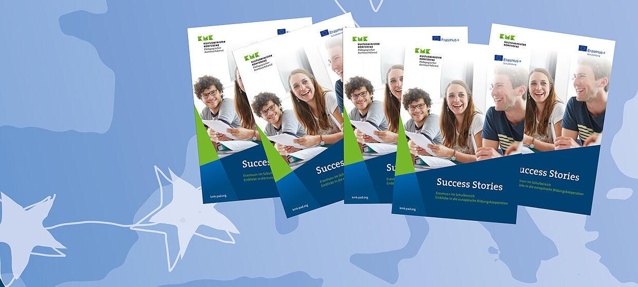 Broschüre Success Stories vor blauem Hintergrund