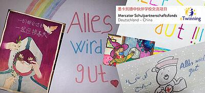"""Collage mit Gemälden und Schriftzug """"Alles wird gut"""""""
