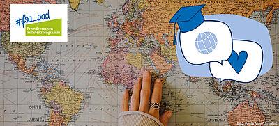 Hand auf Weltkarte und FSA-Logo