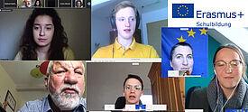 Collage aus Screenshots von Videokonferenzen