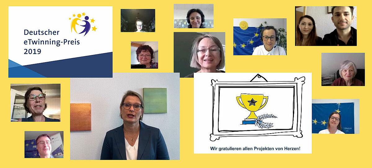 Screenshots der Online-Preisverleihung zum Deutschen eTwinning-Preis 2019