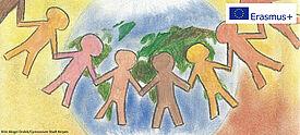 Symbolbild zu Inklusion: Schülerinnen und Schüler vor Weltkugel, oben rechts das Erasmus+ Logo.