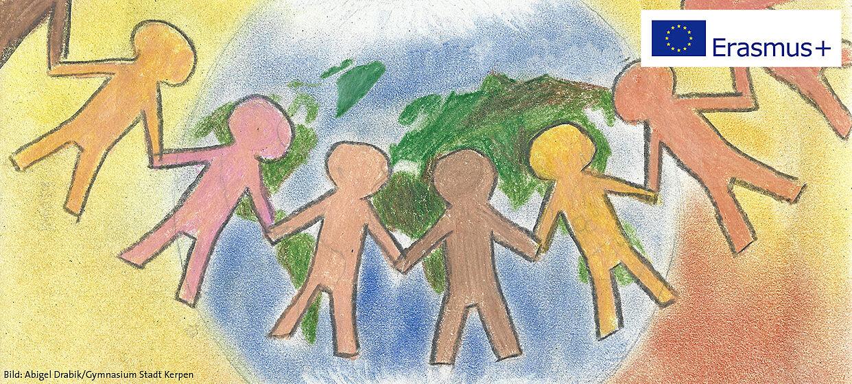 Zeichnung der Schülerin Abigel Drabik, die eine Reihe unterschiedlich farbig gemalter Kinder Hand in Hand vor der Erdkugel zeigt